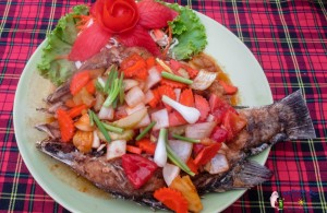 fried fish with sweet and sour sauce